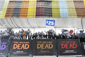 The Walking Dead comic books, upon which the television show is based, are set on display at Walker Stalker Con. The event featured more than 120 different vendors and exhibitors. Photo by Emma Dakin.