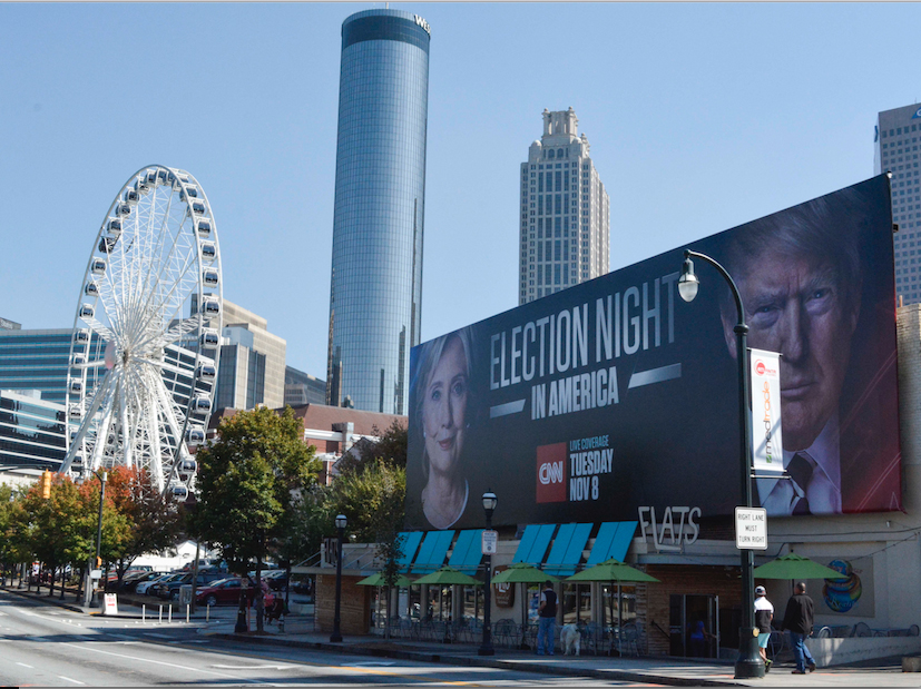 A billboard in downtown Atlanta advertises coverage of the election. Election Day is Tuesday, Nov. 8. Photo by Emma Dakin